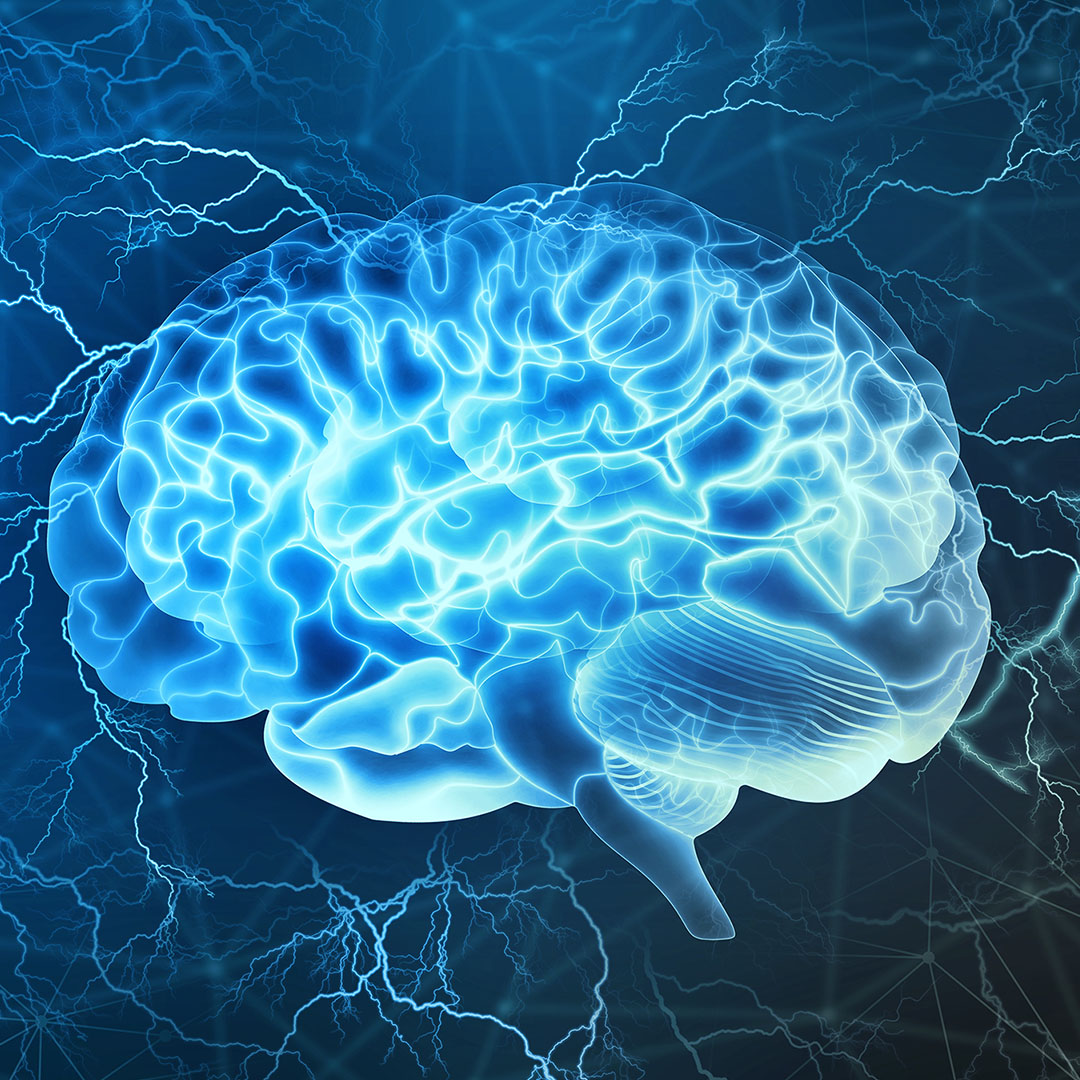 Human brain digital illustration. Electrical activity, flashes, and lightning on a blue background